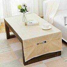 ZC&J Täglicher Haushalt Couchtisch Tischdecke, mit Aufbewahrungstasche, moderne einfache kreative Baumwolle und Leinen Tischdecke, Verschleiß, Anti-Verschmutzung, Mehrzweck-Abdeckung Tuch,A,60*160cm