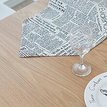 ZC&J Tischläufer europäischen Retro-Stil, Tisch Läufer Baumwolle Material Muster Zeitung, nach Hause Esstisch, Couchtisch, TV Schrank dekorative Tischläufer,A,33*180cm