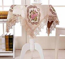 ZC&J Upscale Ländliche Mode Spitze Runden Tisch Tischdecke Gestickt Staubdicht Antifouling Home Decoration Multi-Purpose Cover Tuch,A,110*160cm