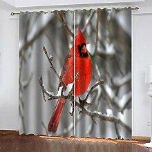 ZCFGG Vorhänge Blickdicht Roter Vogel