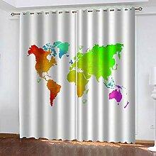 ZCFGG Vorhänge Blickdicht Weltkarte zeichnen