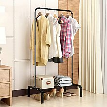 ZCJB Kleiderablage Haushalts-Kleiderständer-modernes Einfaches Floorstanding-Garderoben-Schlafzimmer-Stahlrahmen-Kleiderbügel ( Farbe : Schwarz )