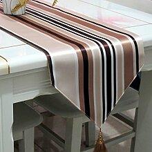 ZCJB Tischläufer Boutique Verdickung Braun Streifen Tisch Flagge Bett Flagge Couchtisch Flagge ( Farbe : A , größe : 33*180cm )