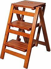 ZCJB Treppenhocker 3 Tier Folding Wood Trittleiter