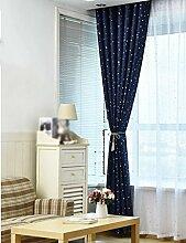 ZCJB Vorhänge Pastorale Heiße Silberne Stern-Schlafzimmer-Wohnzimmer-Sonnenschutz-Schatten-Tuch-Bucht-Fenster Nach Maß Vorhang-Endprodukt ( Farbe : B , größe : W300cm*H270cm )