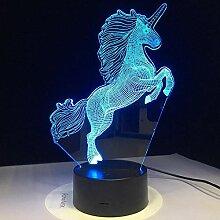 Zcmzcm 3D Nachtlichter 3Dled Kinder Einhorn
