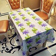 ZCXCC PVC-Tischdecke Purpurrote Blumen Einfache