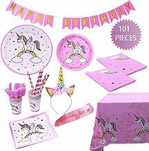 Zdada Einhorn Party Dekorationen Supplies Pink