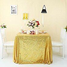 Zdada Nahtlose Gold-Tischdecke Hochzeit Pailletten