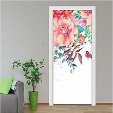 ZDDBD Blumen Tür Aufkleber Wasserdicht