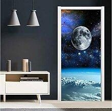 ZDDBD Hauptdekoration Tür Aufkleber 3D Cosmic