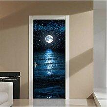 ZDDBD Nacht Mond Meer 3D Tür Aufkleber DIY Home