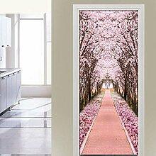 ZDDBD Pink Cherry Tree Path Tapete Türaufkleber
