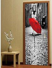 ZDDBD Roter Regenschirm auf dem Boden 3D