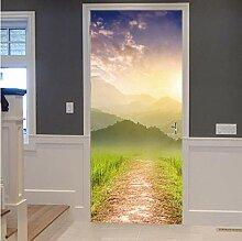 ZDDBD Schöne Berge Tür Aufkleber Wohnzimmer