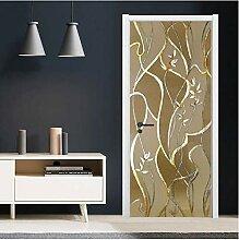 ZDDBD Selbstklebende Tür Aufkleber Muster Golden