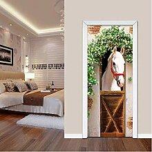 ZDDBD Türaufkleber 3D Tapete Wohnzimmer