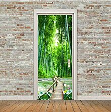 ZDDBD Türaufkleber Bambus Waldbrücke Tapete