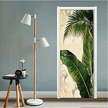 ZDDBD Türaufkleber Tropical Plant Green Banana