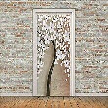 ZDDBD Weiße Blumentür Aufkleber 3D
