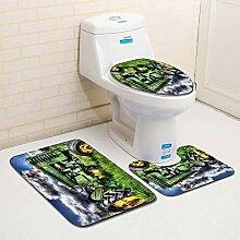 ZDDT Auto Muster Toilette dreiteilige Bodenmatte