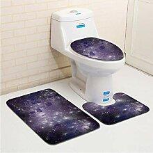 ZDDT Dreiteilige Badezimmerteppichmatten-Fußmatte