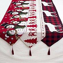 Zdmathe Weihnachten Tischläufer Stickerei Leinen