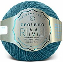 Zealana R05 Rimu Double Knit Weight Oceanwave Garn, Wolle, türkis, 15 x 13 x 8 cm