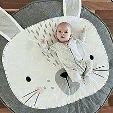 ZEARO Spielmatte Nette Spielteppich Kinderspielteppich Babydecke Häschen Cartoon Design 85 cm (Grau)