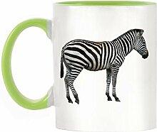 Zebra Bild Design zweifarbige Becher mit Licht Grün Griff & Innen