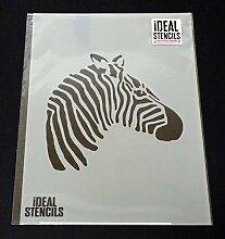 Zebra Kopf Schablone, Zebra Schablone Design, Wohndeko, Wandfarbe Stoffe Möbel, wiederverwendbar Kunststoff - M/25X25CM