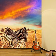 Zebra Sonnenuntergang Wandbild Lila orange Himmel Foto-Tapete Kinderzimmer Dekor Erhältlich in 8 Größen Klein Digital