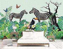 Zebra tropischen Pflanzen 3D Wandbild Tapete