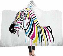 Zebra Wohndecken Kuscheldecken Kapuzendecke