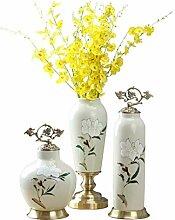 Zebuakuade Keramikvase mit Blume und Vogel bemalt