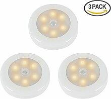 ZEEFO 3 Pack LED-Nachtlichter mit Bewegung aktivierte Sensor-Licht, batteriebetriebene LED-Nachtlicht -Stick auf dem Flur, Wandschrank , Treppen, Badezimmer, Schlafzimmer, Küche, Kinderzimmer, und überall Wandlampe , Safe für Kinder, Senioren mit kostenlosen 3M Klebepads(Warmes Licht)