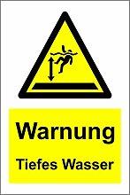 Zeichen Warnung tiefes Wasser - Aufkleber 300mm x