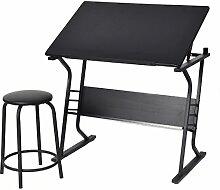 Zeichentisch Schreibtisch Architektentisch Bürotisch neigbar + Hocker