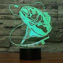 Zeichentrickfiguren 7 Farbe Fisch 3D Illusion
