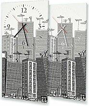 Zeichnung Skyline - Lautlose Wanduhr mit Fotodruck auf Leinwand Keilrahmen | geräuschlos kein Ticken Fotouhr Bilderuhr Motivuhr Küchenuhr modern hochwertig Quarz | Variante:30 cm x 60 cm mit weißen Zeigern - GERÄUSCHLOS
