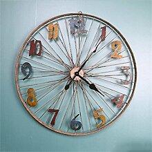 Zeit der Wand Industrie Wind Große Eisen-Wand-Dekoration Retro Persönlichkeit Mode Kreative Rad Wanduhr 80 * 80cm Wanduhr