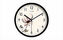 Zeit der Wand Kreative Frische Pastoral Blumen Wohnzimmer Uhren Schlafzimmer-Dekoration mute Wanduhr Moderne Quarzuhr Wanduhr ( farbe : Schwarz , größe : 14inch )