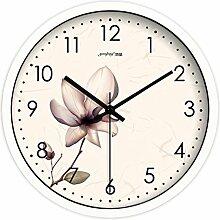 Zeit der Wand Kreative Frische Pastoral Blumen Wohnzimmer Uhren Schlafzimmer-Dekoration mute Wanduhr Moderne Quarzuhr Wanduhr ( farbe : Weiß , größe : 10 Inch )