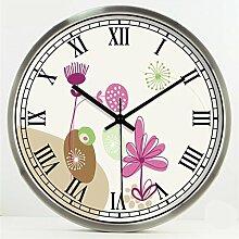 Zeit der Wand Ländliche Kreative Mode Kunst Einfache Wohnzimmer Schlafzimmer Dekoration Wanduhr Stumm Glasuhr Wanduhr ( farbe : Silber , größe : 14 Inches )