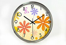 Zeit der Wand Ländliche Mode Kreative Kunst Einfache Wohnzimmer Schlafzimmer Dekoration Wanduhr Dämpfen Glasuhr Wanduhr ( farbe : Silber , größe : 14 Inches )