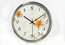Zeit der Wand Moderne Mode Kreative Einfache Starfish Wohnzimmer Schlafzimmer Dekoration Wanduhr Stumm Glasuhr Wanduhr ( farbe : Silber , größe : 12 Zoll )
