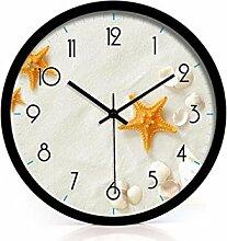 Zeit der Wand Moderne Mode Kreative Einfache Starfish Wohnzimmer Schlafzimmer Dekoration Wanduhr Stumm Glasuhr Wanduhr ( farbe : Schwarz , größe : 12 Zoll )