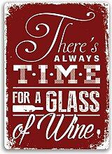 Zeit für Wine Rot Metall Wandschild Art. Küche