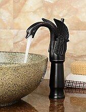 zeitgen?ssische ?leingerieben Bronze Schwanform Badezimmer Waschbecken Wasserhahn (gro?) - Schwarz , black