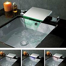 Zeitgenössisch Chrome Finish Farbwechsel LED Wasserfall Waschbecken Wasserhahn